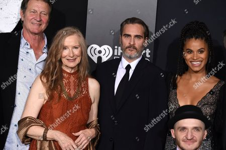 """Brett Cullen, Frances Conroy, Joaquin Phoenix, Zazie Beetz, Leigh Gill. Brett Cullen, Frances Conroy, Joaquin Phoenix, Zazie Beetz and Leigh Gill arrive at the Los Angeles premiere of """"Joker"""" at TCL Chinese Theatre on"""