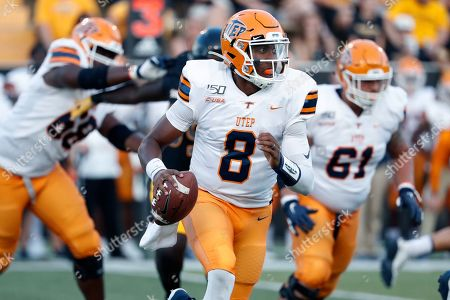 UTEP quarterback Brandon Jones (8) readies to pass against Southern Mississippi during the first half of their NCAA college football game in Hattiesburg, Miss., . Southern Mississippi won 31-13