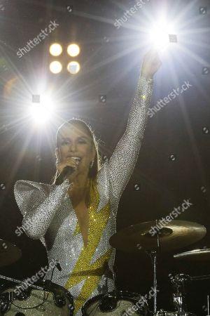 Brazilian singer Ivete Sangalo performs at the Rock in Rio music festival in Rio de Janeiro, Brazil