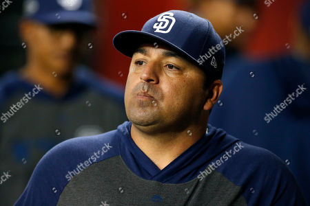 Stock Picture of San Diego Padres manager Rod Barajas during the seventh inning of a baseball game against the Arizona Diamondbacks, in Phoenix