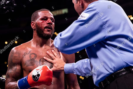 Anthony Dirrell (L) of the USA during his fight against David Benavidez of the USA for the WBC World Super Middleweight Championship fight at Staples Center in Los Angeles, California, USA, 28 September 2019.