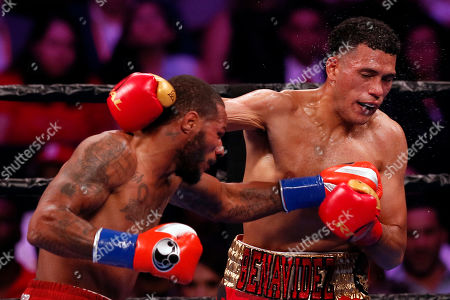 Stock Picture of David Benavidez (R) of the USA in action against Anthony Dirrell (L) of the USA during their WBC World Super Middleweight Championship fight at Staples Center in Los Angeles, California, USA, 28 September 2019.