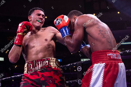 David Benavidez (L) of the USA in action against Anthony Dirrell (R) of the USA during their WBC World Super Middleweight Championship fight at Staples Center in Los Angeles, California, USA, 28 September 2019.