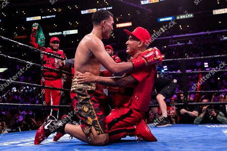 David Benavidez of the US (L) celebrates after winning against Anthony Dirrell of the USA during a WBC World Super Middleweight Championship fight at Staples Center in Los Angeles, California, USA, 28 September 2019.
