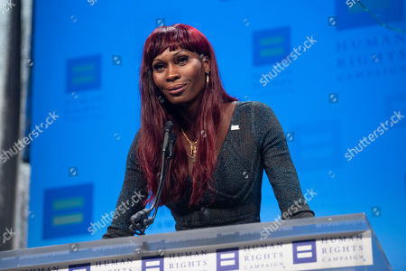 Pose star and Human Rights Campaign National Equality Award recipient Dominique Jackson speaks at the 2019 HRC National Dinner on in Washington