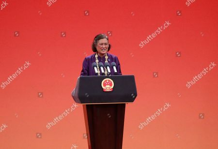 Thai Princess Maha Chakri Sirindhorn speaks at a presentation ceremony for national medals and national honorary titles at the Great Hall of the People (GHOP) in Beijing, China, 29 September 2019. Celebrations are being held to mark the 70th anniversary of the founding of the People's Republic of China on 01 October 2019.