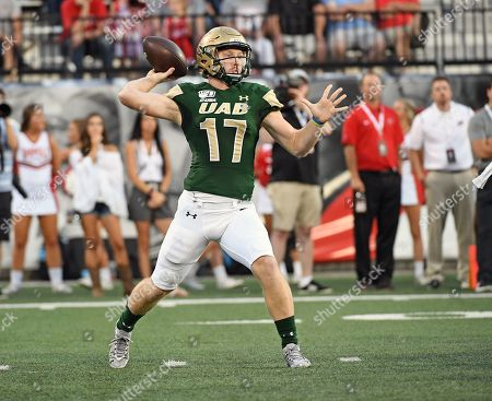 UAB Blazers quarterback Tyler Johnston III (17) throws a pass during a NCAA football game between the UAB Blazers and the WKU Hilltoppers at Houchens Industries-LT Smith Stadium (Photo Credit: Steve Roberts.CSM)