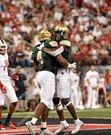 UAB Blazers running back Spencer Brown (4) celebrates with UAB Blazers wide receiver Austin Watkins (6) during a NCAA football game between the UAB Blazers and the WKU Hilltoppers at Houchens Industries-LT Smith Stadium (Photo Credit: Steve Roberts.CSM)