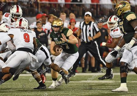 UAB Blazers quarterback Tyler Johnston III (17) runs the ball during a NCAA football game between the UAB Blazers and the WKU Hilltoppers at Houchens Industries-LT Smith Stadium (Photo Credit: Steve Roberts.CSM)