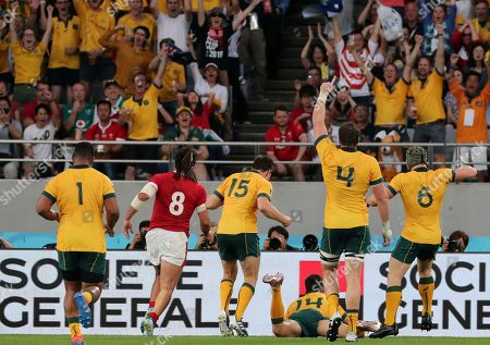 Australian fans celebrates as Australia's Adam Ashley-Cooper scores a try during the Rugby World Cup Pool D game at Tokyo Stadium between Australia and Wales in Tokyo, Japan