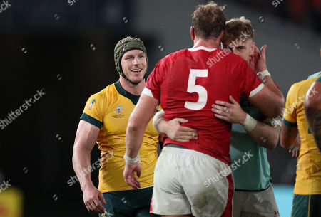 Australia vs Wales. David Pocock of Australia waits to congratulate Alun Wyn Jones of Wales after the game