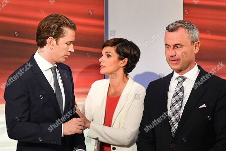 (L-R) Sebastian Kurz, leader of Austrian People's Party (OeVP), Pamela Rendi-Wagner, leader of Austrian Social Democratic Party (SPOe) and SPOe top candidate, and OeVP top candidate, and Norbert Hofer, leader of the right-wing Austrian Freedom Party (FPOe) and FPOe top candidate, arrive for the TV discussion after the Austrian federal elections in Vienna, Austria, 29 September 2019. Projections published after the polls closed saw the OeVP as the clear winner of the general election.