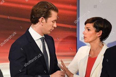 (L-R) Sebastian Kurz, leader of Austrian People's Party (OeVP) and OeVP top candidate, and Pamela Rendi-Wagner, leader of Austrian Social Democratic Party (SPOe) and SPOe top candidate, prior the TV discussion after the Austrian federal elections in Vienna, Austria, 29 September 2019.