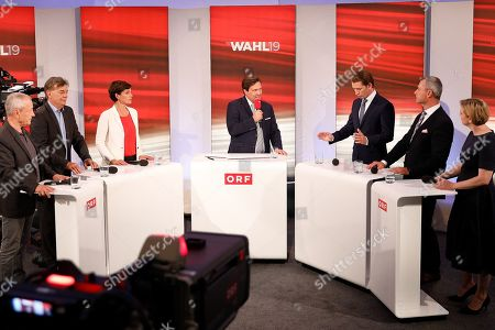 (L-R) Peter Pilz, top candidate of the Liste Jetzt Party, Werner Kogler, top candidate of the Green Party, Pamela Rendi-Wagner, leader of Austrian Social Democratic Party (SPOe) and SPOe top candidate, TV host Matthias Schrom, Sebastian Kurz, leader of Austrian People's Party (OeVP) and OeVP top candidate, Norbert Hofer, leader of the right-wing Austrian Freedom Party (FPOe) and FPOe top candidate, and Beate Meinl-Reisinger, top candidate of the NEOS Party, attend a TV discussion after the Austrian federal elections in Vienna, Austria, 29 September 2019.