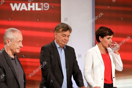 (L-R) Peter Pilz, top candidate of the Liste Jetzt Party, Werner Kogler, top candidate of the Green Party,  and Pamela Rendi-Wagner, leader of Austrian Social Democratic Party (SPOe) and SPOe top candidate, attend a TV discussion after the Austrian federal elections in Vienna, Austria, 29 September 2019.