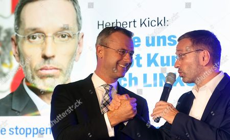 Norbert Hofer (L), leader of the right-wing Austrian Freedom Party (FPOe) and FPOe's  Herbert Kickl (R) address to the supporters at an FPOe election party after the Austrian federal elections in Vienna, Austria, 29 September 2019.