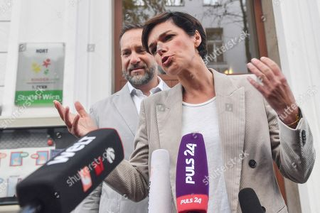 Pamela Rendi-Wagner, leader of Austrian Social Democratic Party (SPOe) and SPOe top candidate, addresses the media next to her husband Michael Rendi at a polling station after casting their votes during the Austrian federal elections in Vienna, Austria, 29 September 2019.