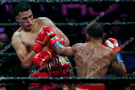 Stock Photo of David Benavidez of the US (L) in action against Anthony Dirrell of the US during their WBC World Super Middleweight Championship fight at Staples Center in Los Angeles, California, USA, 28 September 2019.