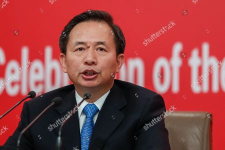 Stock Picture of China's Minister of Ecology and Environment Li Ganjie speaks during a press conference in Beijing, China, 29 September 2019, ahead of the 70th anniversary of the founding of the People's Republic of China on 01 October 2019.