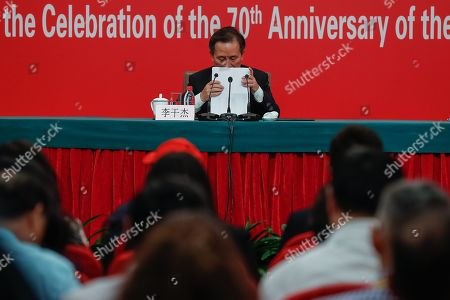 China's Minister of Ecology and Environment Li Ganjie attends a press conference in Beijing, China, 29 September 2019, ahead of the 70th anniversary of the founding of the People's Republic of China on 01 October 2019.