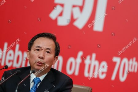 Stock Photo of China's Minister of Ecology and Environment Li Ganjie speaks during a press conference in Beijing, China, 29 September 2019, ahead of the 70th anniversary of the founding of the People's Republic of China on 01 October 2019.