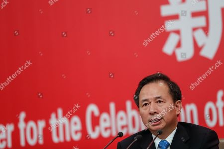 China's Minister of Ecology and Environment Li Ganjie speaks during a press conference in Beijing, China, 29 September 2019, ahead of the 70th anniversary of the founding of the People's Republic of China on 01 October 2019.