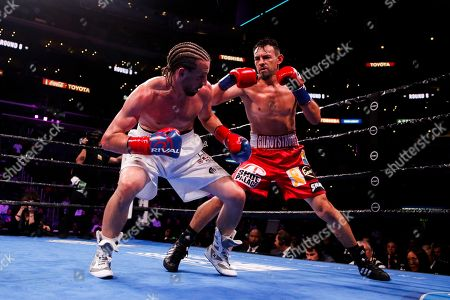 Stock Picture of Robert Guerrero fights Jerry Thomas during the Welterweights boxing match, in Los Angeles