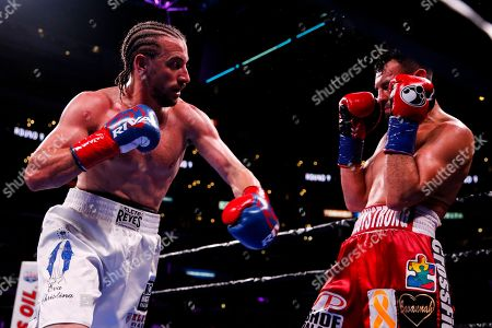 Stock Image of Robert Guerrero fights Jerry Thomas during the Welterweights boxing match, in Los Angeles
