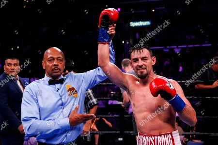 Stock Photo of Robert Guerrero celebrates after defeating Jerry Thomas during the Welterweights boxing match, in Los Angeles