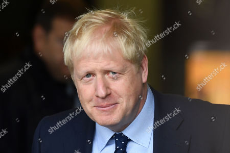 Boris Johnson arriving at Media City, Salford, for the Andrew Marr show.