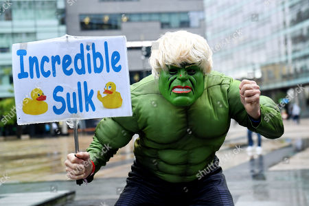 A protester dressed as The Incredible Sulk at the Media City Salford where Boris Johnson gave an interview on the Andrew Marr show.