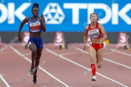 Tori Bowie (USA), Xiaojing Liang (China), 100 Metres Women, Round 1 Heat 5, during the 2019 IAAF World Athletics Championships at Khalifa International Stadium, Doha