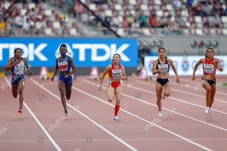 Stock Image of Angela Gabriella Tenorio (Ecuador), Tori Bowie (USA), Xiaojing Liang (China), Zoe Hobbs (New Zealand), Mujinga Kambundji (Switzerland), 100 Metres Women, Round 1 Heat 5, during the 2019 IAAF World Athletics Championships at Khalifa International Stadium, Doha