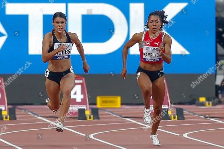 Zoe Hobbs (New Zealand), Mujinga Kambundji (Switzerland), 100 Metres Women, Round 1 Heat 5, during the 2019 IAAF World Athletics Championships at Khalifa International Stadium, Doha