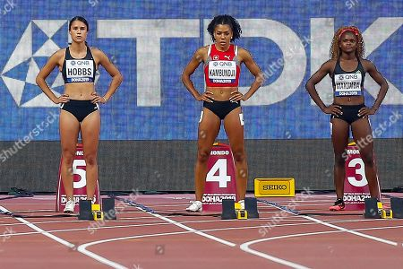Stock Image of Zoe Hobbs (New Zealand), Mujinga Kambundji (Switzerland), Hellen Makumba (Zambia), 100 Metres Women, Round 1 Heat 5, during the 2019 IAAF World Athletics Championships at Khalifa International Stadium, Doha