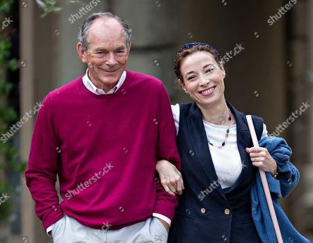 Stock Photo of British author, newspaper columnist and editor, Sir Simon Jenkins and his wife Hannah Kaye