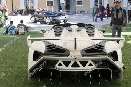 A Lamborghini Veneno Roadster (2014), part of some 25 luxury cars owned by Teodoro Obiang, the son of the Equatorial Guinea's President Teodoro Obiang Nguema Mbasogo before an auction of sales house Bonhams at the Bonmont Abbey Golf & Country Club in Cheserex near Geneva, Switzerland, 29 September 2019. A collection of luxury cars from Equatorial Guinea's vice president Teodorin Obiang Nguema confiscated by the Geneva prosecutor's office after a deal ending a money-laundering inquiry, are auctioned off in Switzerland and are estimated to bring in 18.5 million Swiss francs.