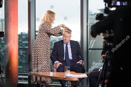 British Prime Minister Boris Johnson prepares to appear on the BBC's Andrew Marr show at Media City in Salford before opening the Conservative party annual conference at the Manchester Convention Centre, Salford, Britain, 29 September 2019. The Conservative Party Conference runs from 29 September to 02 October 2019.