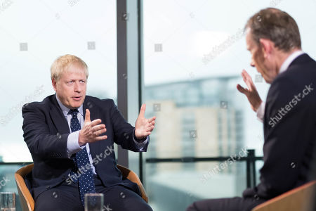 British Prime Minister Boris Johnson appears on the BBC's Andrew Marr show at Media City in Salford before opening the Conservative party annual conference at the Manchester Convention Centre, Salford, Britain, 29 September 2019. The Conservative Party Conference runs from 29 September to 02 October 2019.