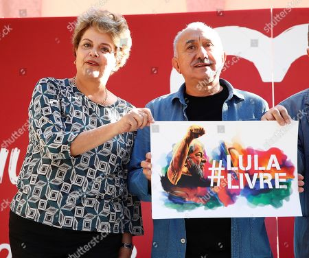 Former Brazilian president Dilma Rousseff (L) poses with the Secretary-General of Spanish trade union UGT, Pepe Alvarez (R), as she attends an event in support of imprisoned former Brazilian president Luiz Inacio Lula da Silva, in Madrid, Spain, 29 September 2019. Lula da Silva is currently serving an eight year and ten month sentence for corruption.