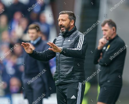 Stock Image of Aberdeen Manager Derek McInnes during the Ladbrokes Scottish Premiership match between Rangers & Aberdeen at Ibrox Stadium, Glasgow on 28 Sept 2019.