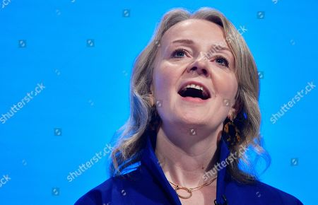 Britain's Secretary of State for International Trade Liz Truss speaks at the Conservative Party Conference in Manchester, Britain, 29 September 2019. The Conservative Party Conference runs from 29 September to 02 October 2019.