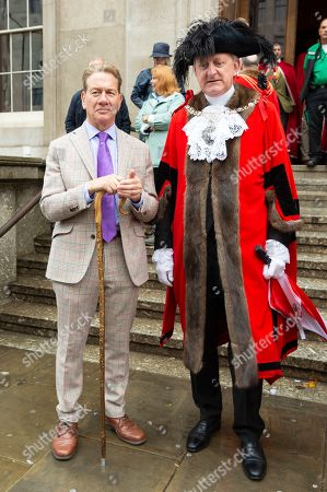 Stock Image of Michael Portillo and The Lord Mayor of London Peter Estlin before leading a flock of North of England Mules before crossing London Bridge.