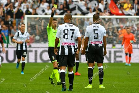 Stock Image of William Troost-Ekong of Udinese (R) during the Italian Serie A soccer match Udinese vs Bologna at the Friuli Stadium in Udine, Italy, 29 September 2019.