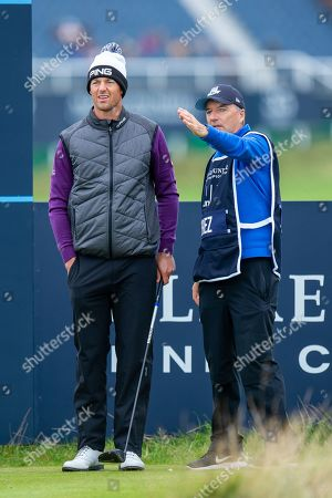 Stock Picture of Caddie JP Fitzgerald gives Victor Perez advice on the best line off the 2nd tee during the final round of the Alfred Dunhill Links Championship European Tour at St Andrews, West Sands