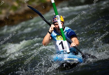 British Joseph Clarke competes in the K1 Slalom race of the 2019 ICF Canoe World Championships, in La Seu d'Urgell, Spain, 29 September 2019.