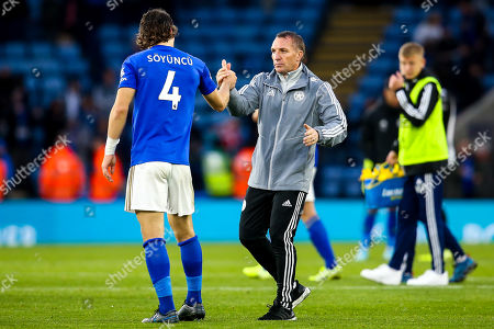 Leicester City manager Brendan Rogers celebrates victory over Newcastle United with Caglar Soyuncu of Leicester City
