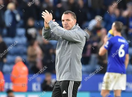 Leicester's manager Brendan Rodgers reacts after the English Premier League soccer match between Leicester City and Newcastle United at the King Power Stadium in Leicester, England
