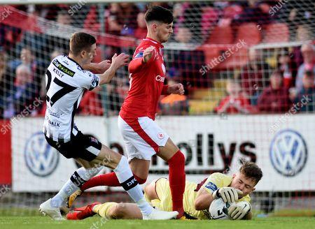 Stock Picture of Sligo Rovers vs Dundalk. Dundalk's Daniel Kelly with Danny Kane and Ed McGinty of Sligo