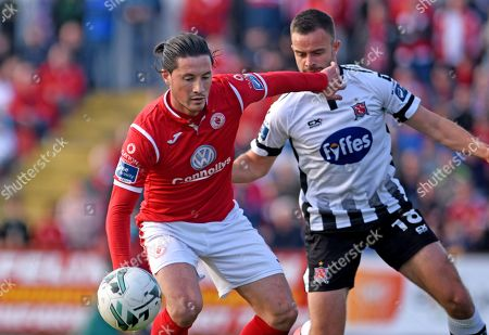 Sligo Rovers vs Dundalk. Dundalk's Robbie Benson and Ronan Coughlan of Sligo